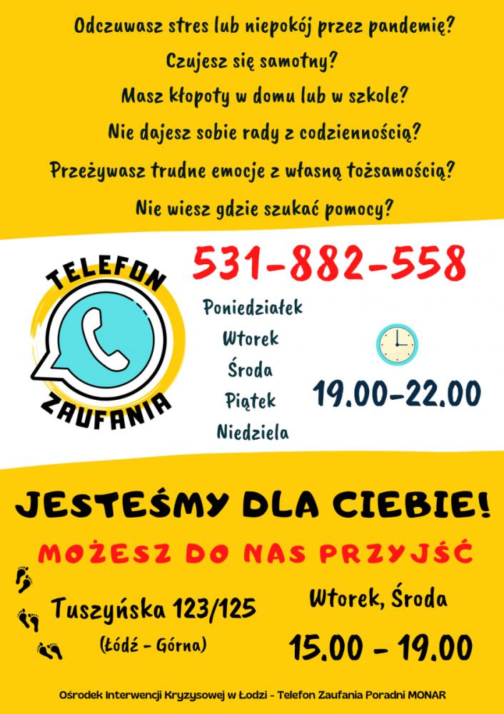 Pragniemy poinformować, że od dnia 28.06.2021r. rozpoczynamy działalność Ośrodka Interwencji Kryzysowej dla młodych ludzi doświadczających trudności osobistych lub krzywdzenia ze strony innych. Do kontaktu telefonicznego zapraszamy też rodziców i pedagogów.   Telefon Zaufania działa w poniedziałki, wtorki, środy, piątki i niedziele w godz. 19:00 - 22:00 Dyżury interwencji kryzysowej odbywają się we wtorki i środy w godz. 15:00 - 19:00
